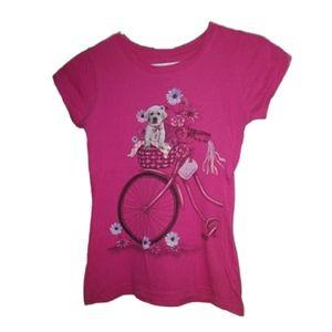 ⭐2/$20 Pink Shirt with Dog in Bike Basket
